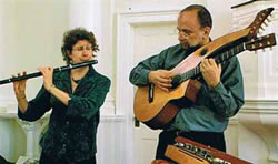 Karen Ashbrook (Irish wooden flute) and Paul Oorts (Harp-guitar)